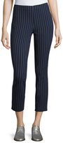 Rag & Bone Simone Pinstripe High-Waist Cropped Leggings, Navy/White