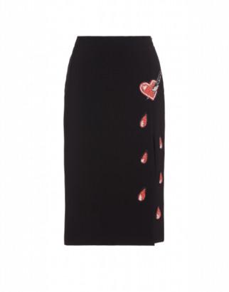 Moschino Bleeding Heart Crepe Skirt Woman Black Size 38 It - (4 Us)