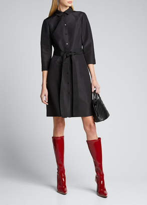 Carolina Herrera Faille 3/4-Sleeve Shirtdress