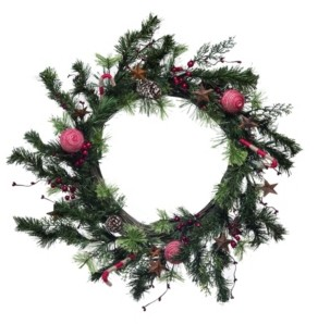 "Transpac Trans Pac 24"" Green Christmas Twig Bauble Wreath"