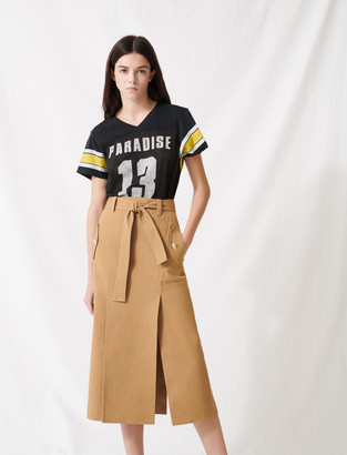 Maje Camel skirt with inlaid belt