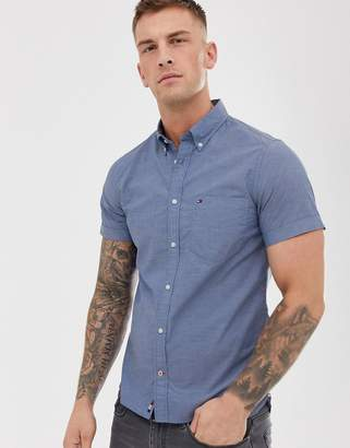 Tommy Hilfiger icon logo short sleeve buttondown poplin shirt slim fit in blue crossdye
