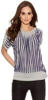 Quiz Blue And Grey Stripe Batwing Top