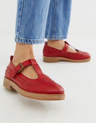 ASOS DESIGN Moral leather flat shoes in red