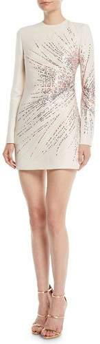 Valentino Long-Sleeve Starburst-Sequin Crepe Couture Mini Dress