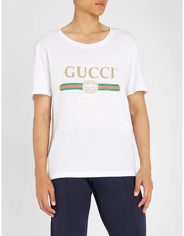 Gucci Fake logo-print cotton-jersey T-shirt