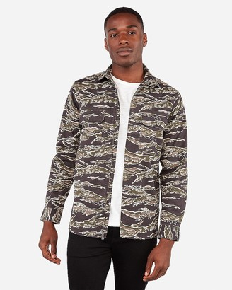 Express Camo Print Zip Front Shirt Jacket