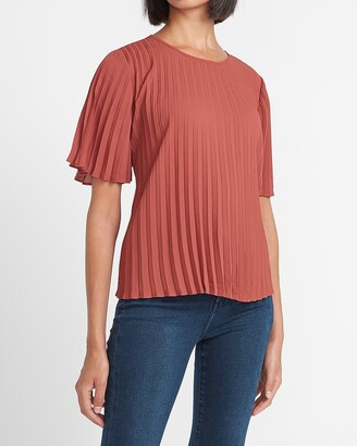 Express Pleated Crew Neck Top