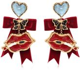 DSQUARED2 Lips Charm & Velvet Bow Earrings