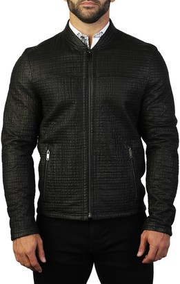 Maceoo Textured Black Leather Game Jacket