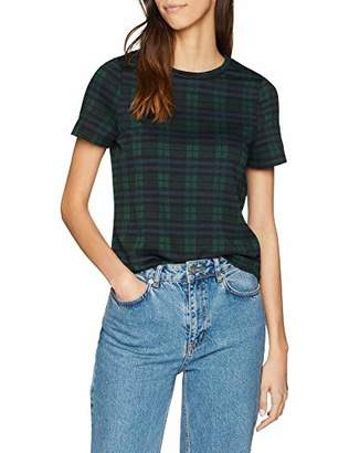New Look Women's Black Watch Check T-Shirt,8 (Manufacturer Size:8)
