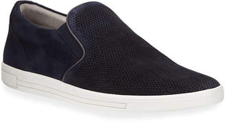 Kenneth Cole Men's Perforated Suede Slip-On Sneakers