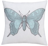 "Thomas Paul Seedling By ; Curiosities Butterfly Toss Pillow 18""X18"" - White&Blue"