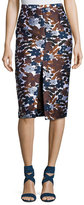 Michael Kors Floral-Embroidered Pencil Skirt, Brown
