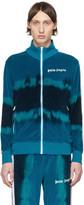Palm Angels Blue Tie-Dye Chenille Track Jacket