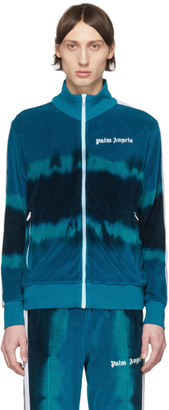 Palm Angels Blue Tie-Dye Chenille Track Jacket