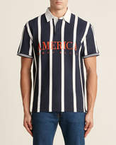 Perry Ellis Vertical Rugby Stripe Short Sleeve Polo