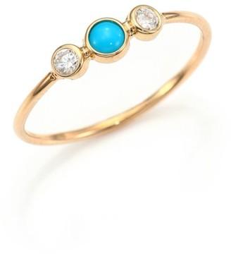Zoë Chicco Diamond, Turquoise & 14K Yellow Gold Ring