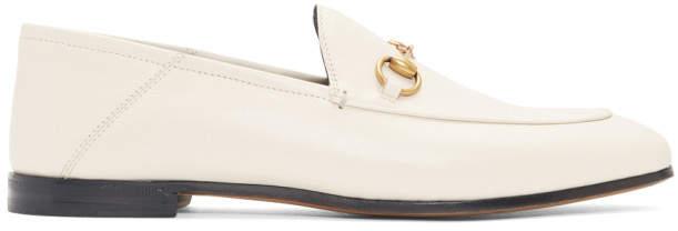 Gucci White Horsebit Loafers