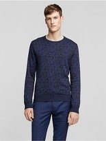 Calvin Klein Collection Abstract Camouflage Jacquard Wool Blend Sweater