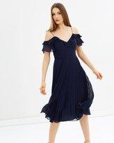 Oasis Pleat Cold Shoulder Midi Dress
