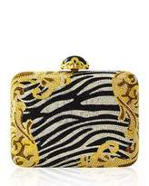 Judith Leiber Couture Golden Zebra Large Slim Rectangle Evening Clutch Bag, Zebra