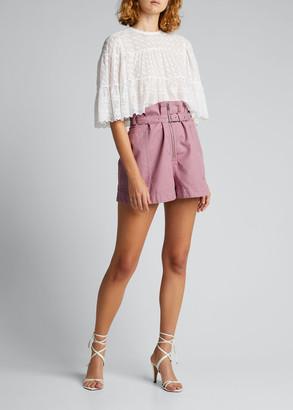 Etoile Isabel Marant Parana Cotton-Linen Paperbag Shorts