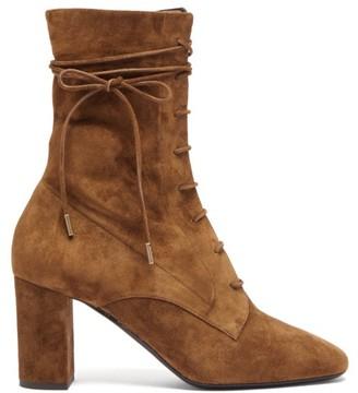 Saint Laurent Laura Lace-up Suede Boots - Womens - Tan