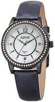August Steiner Women's Quartz Stainless Steel and Leather Casual Watch, Color:Black (Model: AS8227BK)