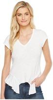 Heather Cleo Cotton Slub V-Neck Peplum Tee Women's T Shirt