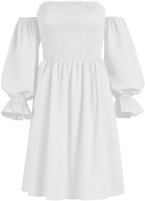 New York & Co. White Smocked Off-The-Shoulder Dress