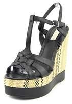 Lauren Ralph Lauren Maeva Women Open Toe Leather Black Wedge Sandal.