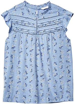 Lucky Brand High Neck Printed Shell (Blue Multi) Women's Clothing
