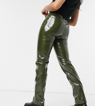 Collusion vinyl straight leg trousers in olive green