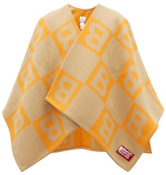 Burberry B-jacquard Merino Wool-blend Cape - Orange Multi
