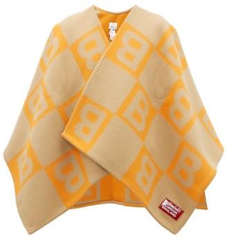Burberry B-jacquard Merino Wool-blend Cape - Womens - Orange Multi