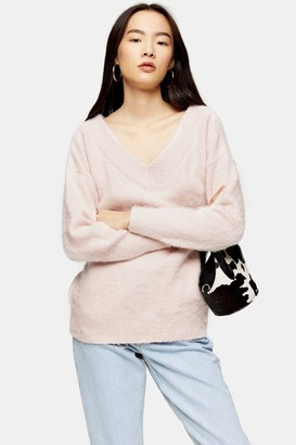 Topshop Pink Knitted Brushed Bardot Sweater