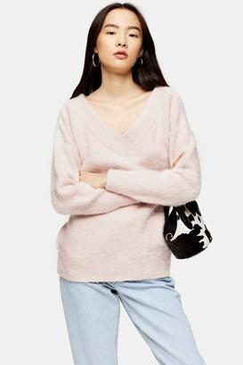 Topshop Womens Pink Knitted Brushed Bardot Jumper - Pale Pink