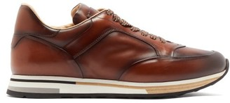 Dunhill Duke Runner Patina-leather Trainers - Mens - Tan