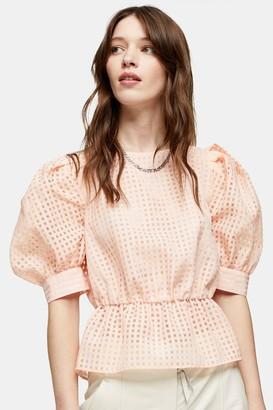 Topshop Womens Peach Sheer Check Puff Sleeve Blouse - Peach