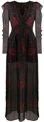 John Richmond Rose-Printed Maxi Dress