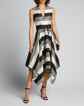Badgley Mischka Sequin Striped Deep V-Neck Belted Handkerchief Dress