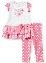 Bonnie Jean Little Girls 2T-6X Valentines Heart Top & Dotted Leggings Set
