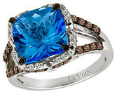 LeVian Azure Blues Vanilla Diamond, Chocolate Diamond, Ocean Blue Topaz and 14K White Gold Ring 0.61 TCW