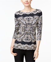 Charter Club Printed Boat-Neck Top, Only at Macys