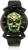 GaGa MILANO Green Bionic Skull Black Steel Watch