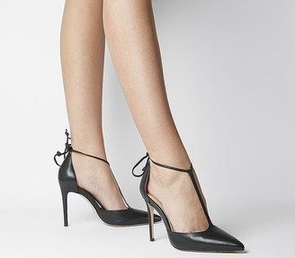 Office Hardworker T-bar Court Heels Black Leather