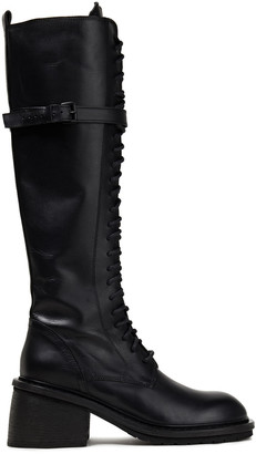 Ann Demeulemeester Lace-up Leather Knee Boots