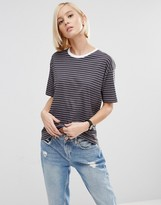 Asos T-Shirt In Stripe With Contrast Trim