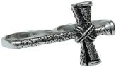 Femme Metale Jewelry Double Finger Cross Ring
